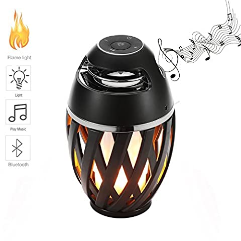 FVTLED Led Flame Lights with Bluetooth Speaker Outdoor Portable Led Flame Atmosphere Lamp Stereo Speaker Sound Waterproof Dancing Flame Lighting Party (Y Flicker A1)