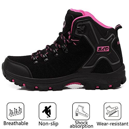 Heel Boots Slip Non Anti Trekking FEOZYZ Hiking Climbing Boots Shoes mid Black Collision Womens gqwB8xw6S
