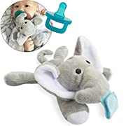 Soothie Pacifier, UDS Pacifier Clip with Detachable Soft Stuffed Animal as Pacifier Holder for Baby (Elephant)