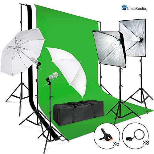 LimoStudio 3meter x 2.6meter / 10foot. x 8.5foot. Background Support System, 800W 5500K Umbrella Softbox Lighting Kit for Photo Studio Product, Portfolio and Video Shooting Photography Studio, AGG1388 from LimoStudio