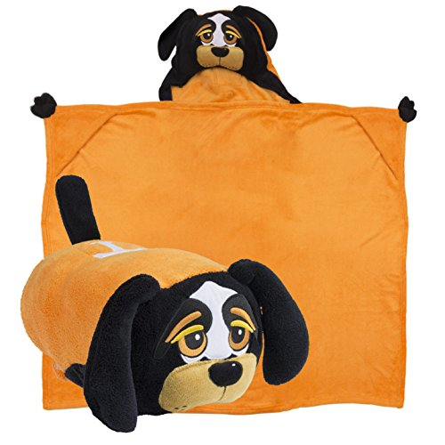 (Comfy Critters Stuffed Animal Blanket-College Mascot, University of Tennessee 'Smokey' - Kids Huggable Pillow and Blanket Perfect for The Big Game, Tailgating, Pretend Play, Travel, and More)