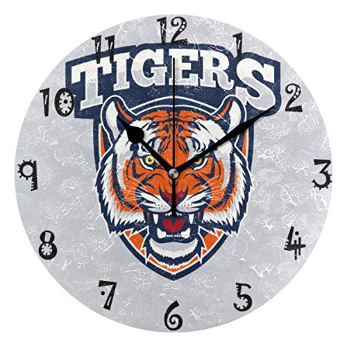 Art Fierce Tiger Print Circular Wall Clock Round Plate Silent Non Ticking Clock for Kitchen Bedroom Home Office School Kid Boys Girls Clocks Decor
