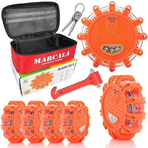 Marcala LED Road Flares 6-Pack | Emergency Roadside Discs | Car Emergency Kit | DOT Compliant LED Safety Flares Kit w/Batteries Installed, Carry-Case and 3 Bonuses | Feel Safer on The Road! ()
