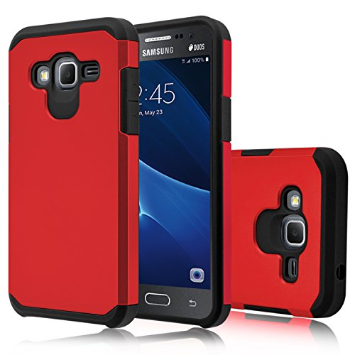 Galaxy J3 V Case, Galaxy J3 Case (2016), Venoro [Shockproof] Armor Hybrid Defender Rugged Protective Case Cover for Samsung Galaxy J3 / Express Prime/Amp Prime (Red)