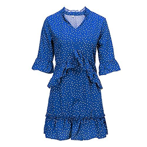 XYJD Lente en zomer dames casual losse korte mouwen V-hals gegolfd polka dot chiffon jurk dames
