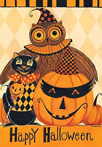 Briarwood Lane Halloween Party Primitive Garden Flag Owl Black Cat Jack O'Lantern 12.5