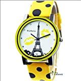 Caleen6 Fashion Lady Quartz Pairs Eiffel Tower Spot Leather Anolog Watch Yellow Color