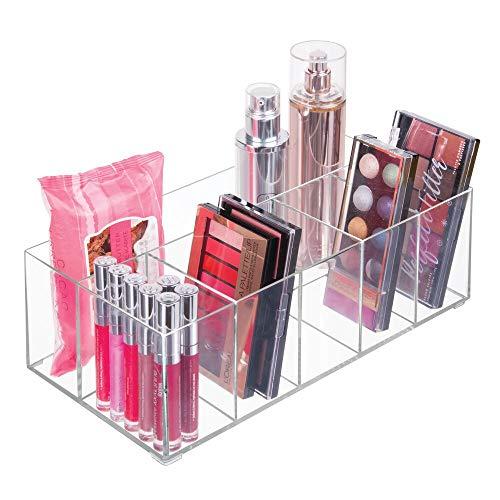 mDesign Organizador de maquillaje – Caja transparente con 6 compartimentos - Ideal para guardar maquillaje, cosmeticos y productos de belleza – Plastico transparente