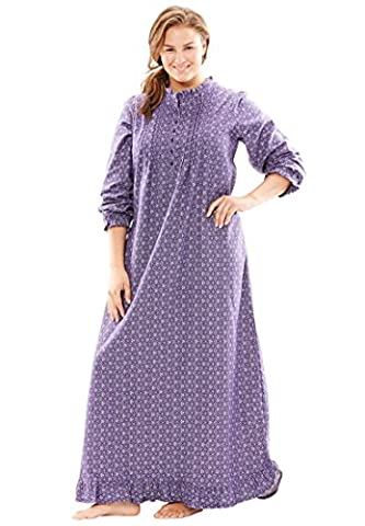 Only Necessities Women's Plus Size Cotton Flannel Print Gown Midnight Violet - Full Sweep Gown