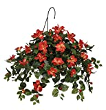 House of Silk Flowers Artificial Hibiscus Hanging Basket, Tomato Red