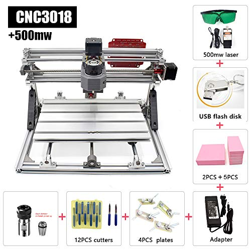 Desktop CNC 3018 Wood Router Kit 2 in 1 Engraving Cutting Machine 500mw, GRBL Control 3 Axis Plastic Acrylic PCB PVC Carving Milling