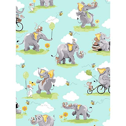Susybee~Knightley Elephant Playing Childrens Cotton Fabric