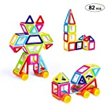 Image of Theefun 82 Piece Mini Magnetic Building Blocks Toys for Boys Girls, Magnet Tiles Kits for Kid,Colourful