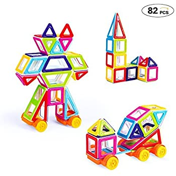 Theefun 82 Pieces Mini Magnetic Blocks Building Set for Kids, Magnetic Tiles 3D Educational Building Construction Toys for Boys and Girls
