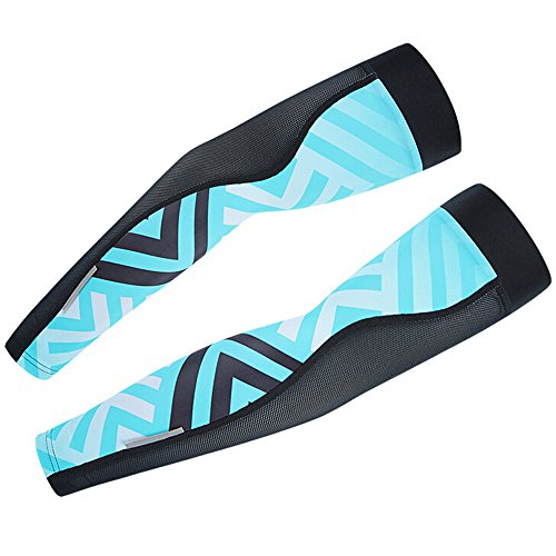 [Ezyoutdoor 1 Pair Unisex Comfortable Lycra Maze Pattern Sports Cooling Arm Sleeves UV & Sun Protection for Bike Cycling Golf Hiking Camping (Blue/Black,] (Make Confederate Soldier Costume)