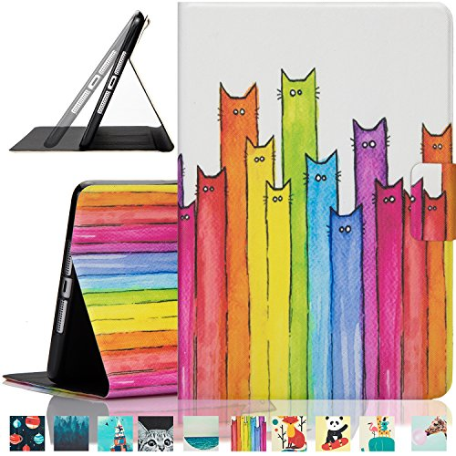 Dteck iPad Mini 1/2/3 Case -Ultra Slim Folio Stand PU Leather Cover with Auto Wake/Sleep Function Smart Cover for Apple iPad Mini 1/ iPad Mini 2/ iPad Mini 3, Rainbow Cats