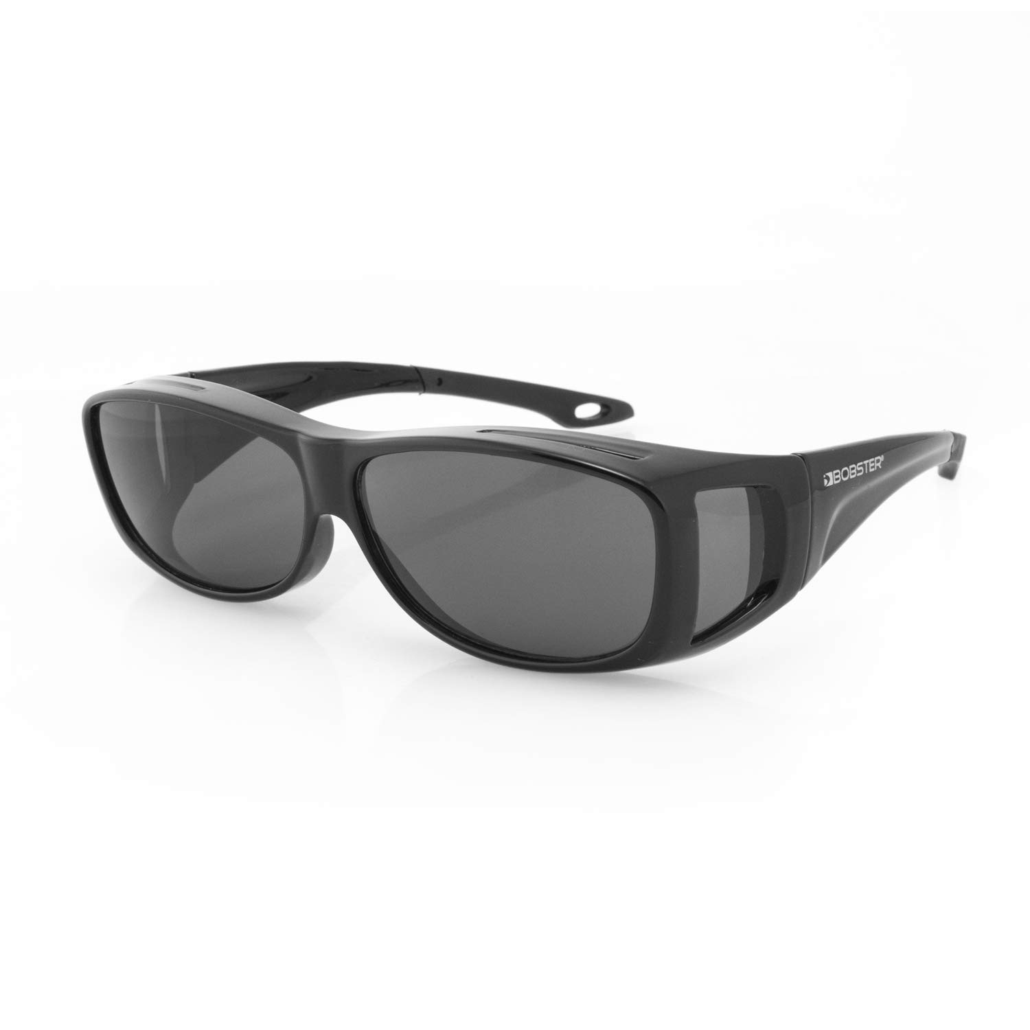 Bobster Condor 2 OTG Sunglasses, Gloss Black Frame, Anti-Fog Smoked Lens, Small by Bobster