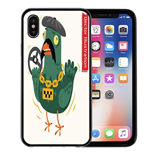 Emvency Phone Case for Apple iPhone Xs Case/iPhone X Case,Beak Dove Taxi Driver Angry Bowl Bus Cap Chain Soft Rubber Border Decorative, -