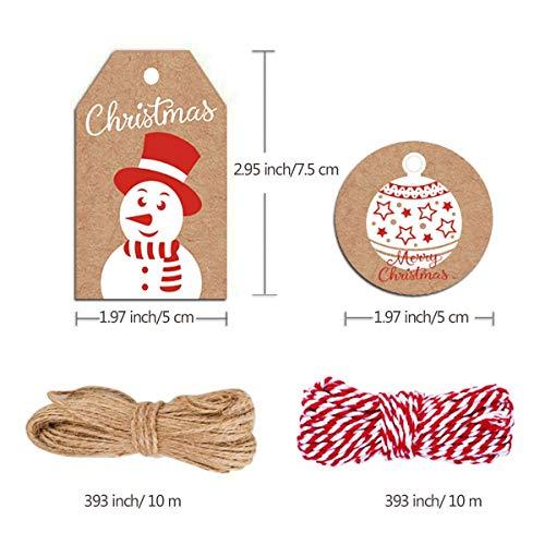 100 Pack Brown Kraft Paper Christmas Gift Tags, Xmas Brown Kraft Gift Tags with Jute Twine Baker Twine for DIY Xmas…