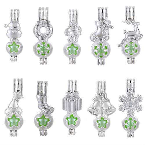 Price comparison product image Mixed 10pcs Christmas Pearl Cage Bright Silver Beads Cage Locket Pendant Jewelry Making-for Oyster Pearls,  Essential Oil Diffuser,  Fun Gifts (Mixed 10pcs)