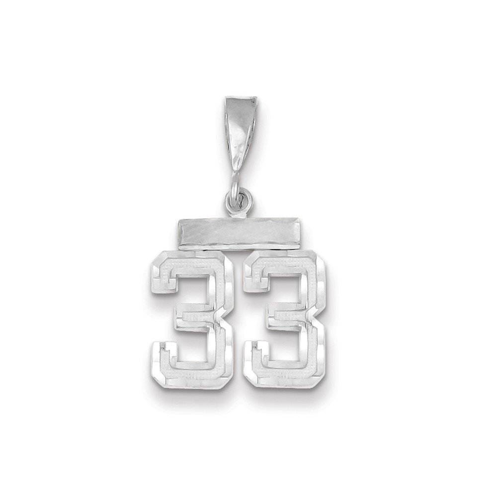 14K White Gold Small Shiny-Cut Number 33 Charm