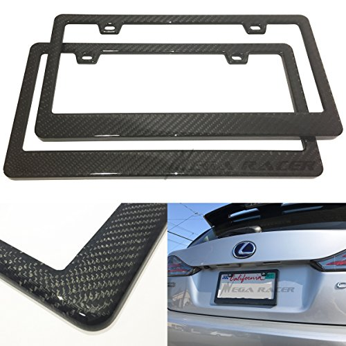 Mega Racer Pack of 2 JDM Style 100% Real Carbon Fiber License Plate Frame Holder Twill Weave Front/Rear USA Auto Car 08 Honda Fit Carbon