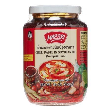 Roasted Garlic Paste - Chilli Paste in Soybean Oil - Nam Prik Pao (Thai Chili Paste) 16 Ounce Jar