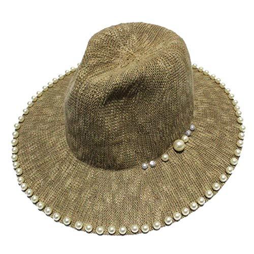 Tamaño 5 Summer Sombrero Brim Yisaesa Sun Tamaño Caqui Sombreros Pearl Ladies Panameño Hat Unid De Playa Vaquero Negro Un Big color 1qyBdKHq