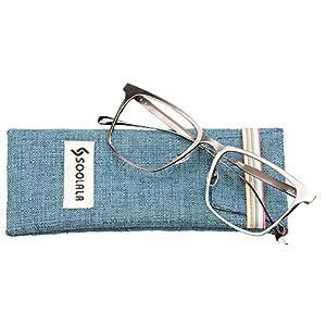 SOOLALA Womens Mens Alloy Full Frame Unique Clear Lens Eyeglass Reading Glass, Gray, +1.25D