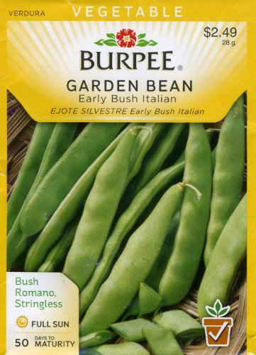 Romano Bean Seeds - Burpee 56500 Bean, Bush Snap Early Bush Italian Seed Packet