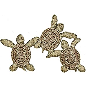 "[Single Count] Custom and Unique (2.5"" x 3.5"" Inch) ""Beach"" Earthy Toned Day By The Sea Fun Sandy Animal Lover Triple Sea Turtle Design Iron On Embroidered Applique Patch {Tan & Gold Colored}"