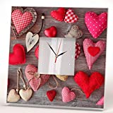 Small Hearts Collage Stitched Pillows Wall Clock Framed Mirror Printed Decor Art Home Design Gift