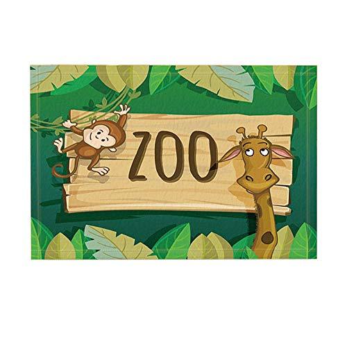 GoEoo Cartoon Bath Rugs Animal Zoo Wooden Plank Cute Monkey Giraffe for Kids Non-Slip Doormat Floor Entryways Indoor Front Door Mat Kids Bath Mat 15.7x23.6in Bathroom ()