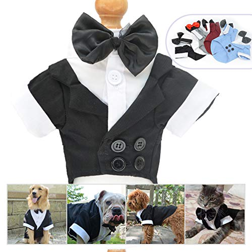 Lovelonglong Pet Costume Dog Suit Formal Tuxedo with Black Bow Tie for Small Dogs Toy Poodle Clothing Black M -