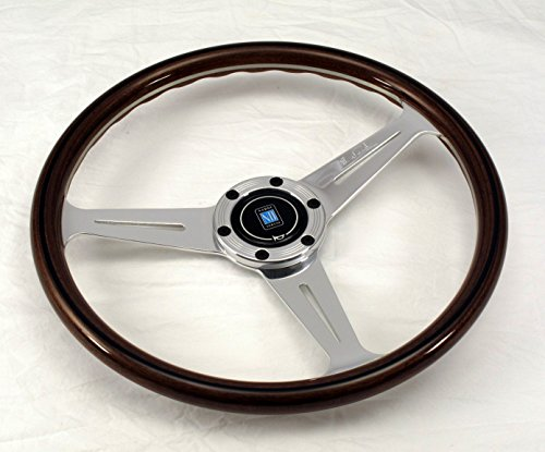 Nardi Steering Wheel - Classic - 360 mm (14.17 inches) - Mahogany Wood with Polished Glossy Spokes - Screws at Sight - Part # 5061.36.3090
