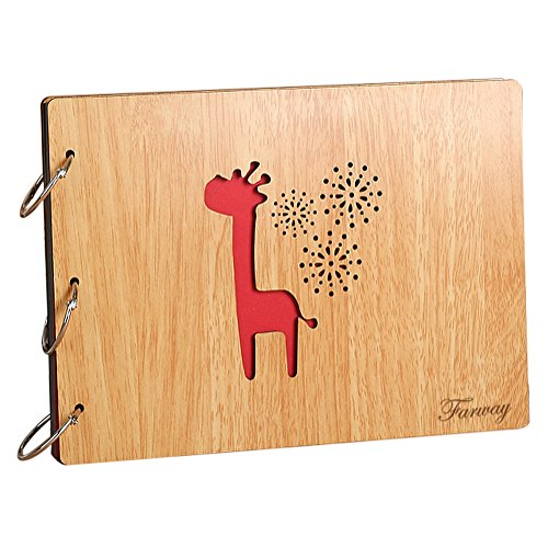 Farway DIY Photo Album with Plain Pages Scrapbook Wood Co...