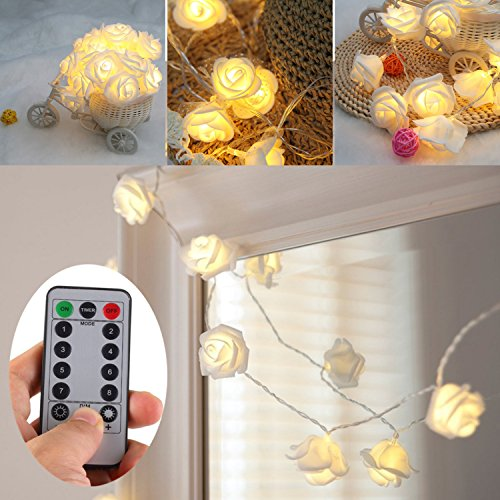 [UPDATED VERSION] Battery Operated 15 ft 30 LED White Rose Flower Fairy String Lights with Remote for Valentine's, Wedding, Bedroom, Indoor Decoration (Dimmable, Timer, 8 Modes, Warm White) Led Flower Light