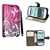 Samsung Galaxy S3 Mini i8190 Case - Kamal Star® PU Leather Flip Protective Magnetic Wallet Cover Case + Free Stylus (Butterfly Purple Book)