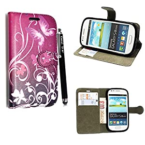 STYLE YOUR MOBILE Samsung Galaxy S3S III Mini I8190Piel sintética con Cierre magnético Carcasa Skin Funda Bolsa + Protector + Lápiz Capacitivo 10