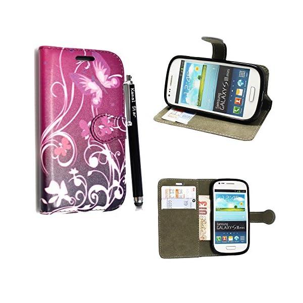STYLE YOUR MOBILE Samsung Galaxy S3S III Mini I8190Piel sintética con Cierre magnético Carcasa Skin Funda Bolsa + Protector + Lápiz Capacitivo 2