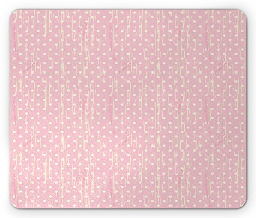 Grunge Mouse Pad by Lunarable, Romantic 60s 50s Retro Pop Art Inspired Polka Dots on Abstract Backdrop, Standard Size Rectangle Non-Slip Rubber Mousepad, Light Pink and - 50s Grunge