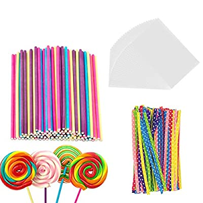 300 Pieces Lollipop Set, 100PCS Parcel Bags + 100 Pieces Colorful Treat Sticks + 100 Pieces Colorful Metallic Wire for Lollipops Candies Chocolates and Cookies