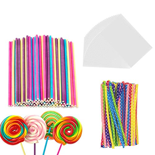 300 Pieces Lollipop Set, 100PCS Parcel Bags + 100 Pieces Colorful Treat Sticks + 100 Pieces Colorful Metallic Wire for Lollipops Candies Chocolates and (Marshmallow Chocolate Lollipop)
