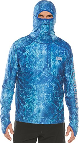 Coolibar UPF 50+ Men's Fishing Hoodie Tee - Sun Protective (X-Large- Blue Water Print) by Coolibar