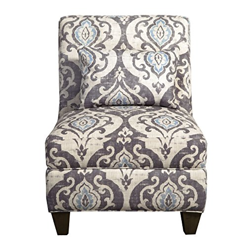 HomePop  Slipper Armless Accent Chair with Pillow, Blue Slate (Armless Blue Chair Accent)