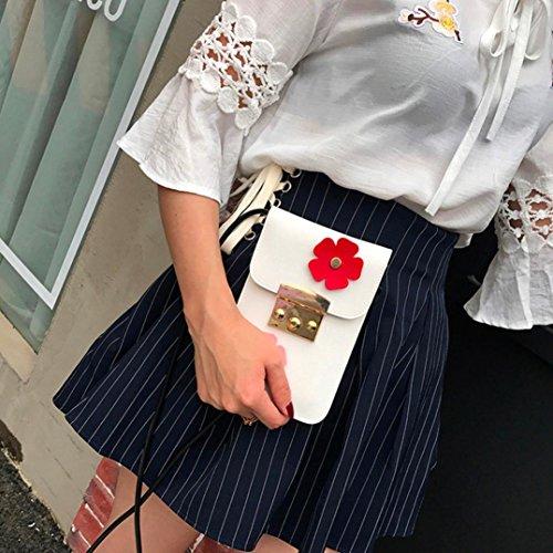 TPulling Frauen-Neue Art- Und Weisefeste Stilvoll Raffiniert Applique Floral Blumen Mini Handtasche Handy Tasche Weiß qAqMOa