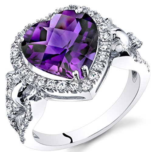 Amethyst Heart Shape Halo Ring in 14K White Gold (3.00 carat) -