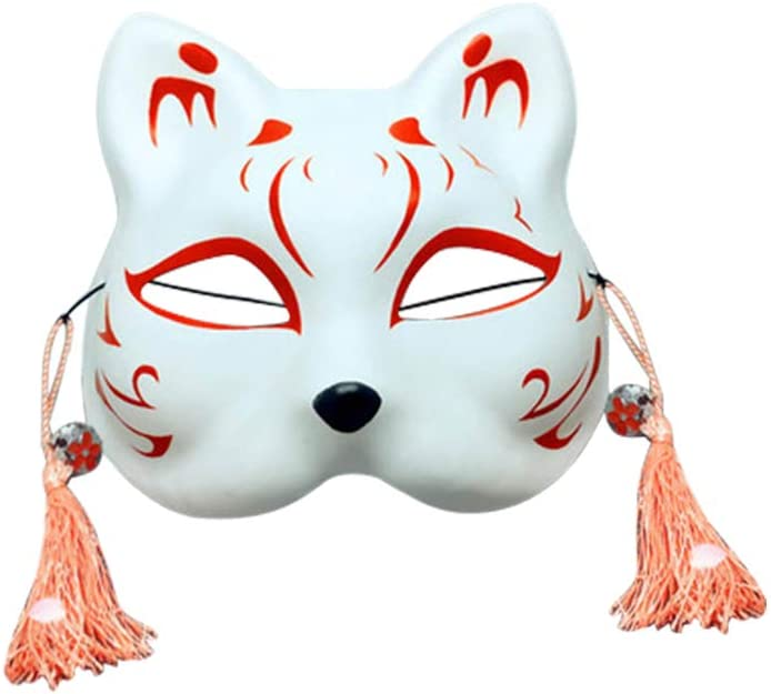 barsku Kitsune Maschera di Volpe per Ballo in Maschera Maschera per Gatto a Mezza Faccia Maschera in Costume Anime con Nappe e campanellini