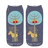 3D Unisex Pgojuni Christmas Funny Fashion Cartoon Printed Casual Socks Cute Low Cut Ankle Socks 1PC (E)