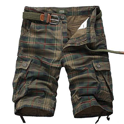 Men's Cargo Shorts Casual Lounge Shorts Multi Pocket Outdoor Wear Lightweight Basic Short Plaid Army Green JD04-40(XL)